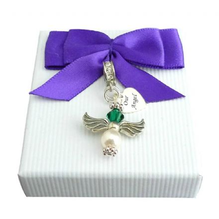 Angel Birthstone Charm with Engraving on Silver Tag